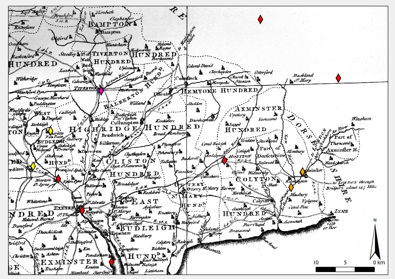Figure 1: A selection of cases located in southeast Devon, represented as point pattern events over Donn's map of the county. A high status case is shown in red, while a lower status one is displayed in pink.