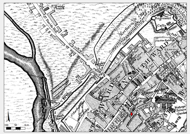 Figure 2: Detail of northwestern Exeter as recorded by Benjamin Donn, represented in ArcMap with a point of libel data.