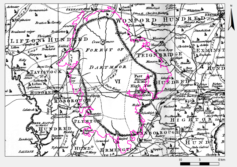 Figure 3: Donn's representation of Dartmoor, with 250 m contour highlighted. The moor outline does not follow this or any other single contour consistently. Elevation data from SRTM (CGIAR-CSI 2013).
